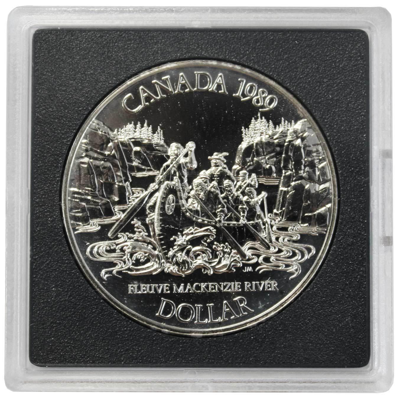 1 доллар. Река Маккензи. Канада. 1989 г. BrUNC. Серебро. В оргинальной квадрокапсуле