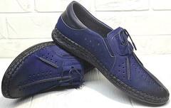 Мужские кожаные туфли мокасины со шнурками city casual Luciano Bellini 91268-S-321 Black Blue.