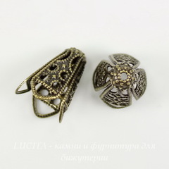 Винтажный декоративный элемент - шапочка - конус 16х13 мм (оксид латуни)