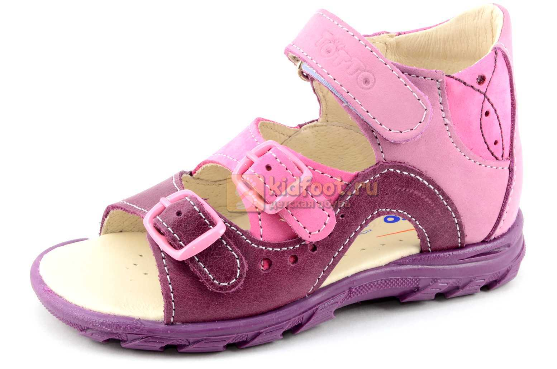 Босоножки Тотто из натуральной кожи с открытым носом для девочек, цвет сирень фиолетовый