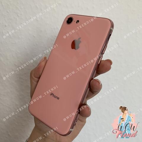 Чехол iPhone 7/8 Glass Silicone Case Logo /pink/