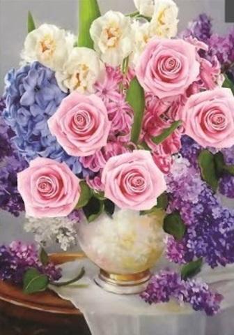 Алмазная Мозаика 30x40 Букет из роз и сирени в белой вазе (арт. S3298)