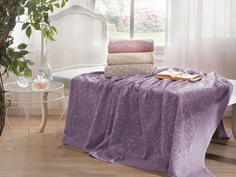 Покрывало махровое 2-спальное Tivolyo home ELIPS 220х220 см фиолетовое