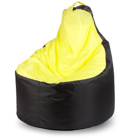 Пуффбери Внешний чехол Кресло-мешок комфорт  145x90x90, Оксфорд Черный и желтый