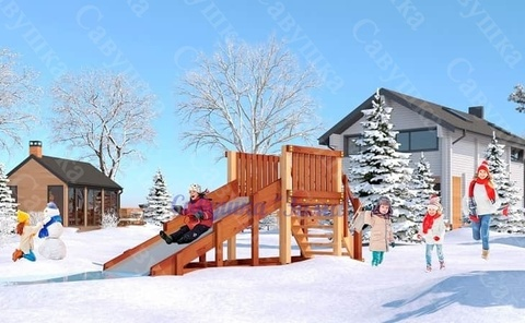 Зимняя деревянная горка Савушка