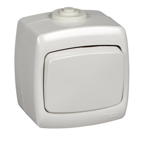 Выключатель/переключатель одноклавишный на 2 направления(проходной) IP44 - 10 А 250 В. Цвет Белый. Schneider Electric(Шнайдер электрик). Rondo(Рондо). VA610-126B-BI