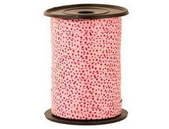 Лента (0,5 см*250 м) Красные точки, Розовый.