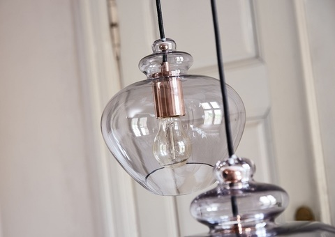 Лампа подвесная Grace, ø23 см, дымчатое стекло, черный цоколь