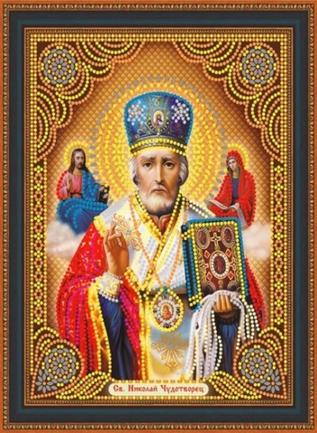 Алмазная Мозаика 27х33 Икона Николай Чудотворец (арт. LP107)