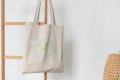 Сумка-шоппер с принтом Цветы (Лилии) бежевая 007