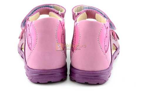 Босоножки Тотто из натуральной кожи с открытым носом для девочек, цвет сирень фиолетовый. Изображение 7 из 12.