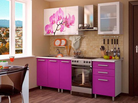 Кухня 1,6м Орхидея БТС Белый/фотопечать