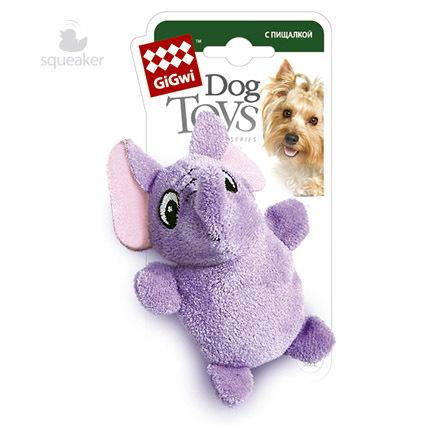 75013 Игрушка для собак gigwi Сиреневый слон с пищалкой