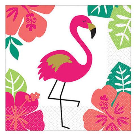 Салфетки малые ALOHA Фламинго, 16 штук