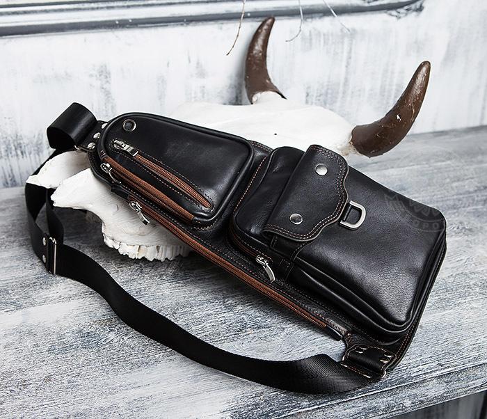 BAG415-1 Крутая мужская сумка рюкзак с одной лямкой, ручная работа
