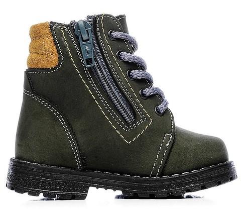 Демисезонные ботинки для мальчиков Котофей 152113-35 из натуральной кожи на молнии цвет серо-зеленый. Изображение 1 из 5.