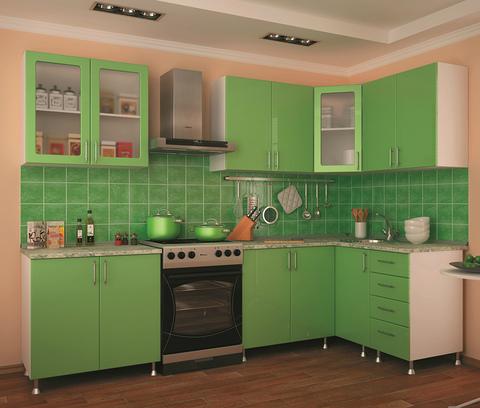 Кухня угловая Салатовая 2,2-1,4 м