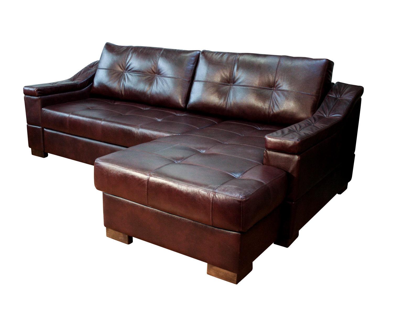Угловой диван Макс П5 2д1я, натур. кожа + кожзам