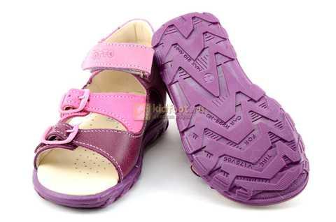 Босоножки Тотто из натуральной кожи с открытым носом для девочек, цвет сирень фиолетовый. Изображение 8 из 12.