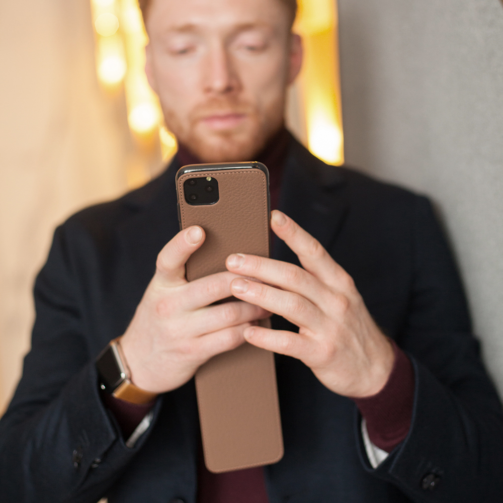 Чехол для iPhone 11 Pro из натуральной кожи теленка, цвета кофе