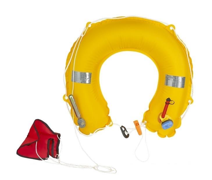 Inflatable horseshoe buoy