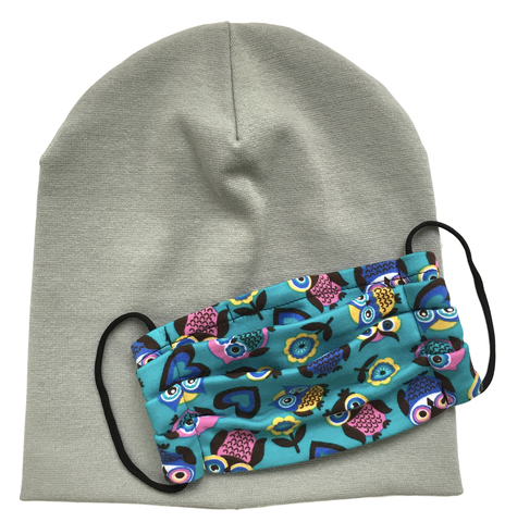 Комплект шапка и маска с совушками