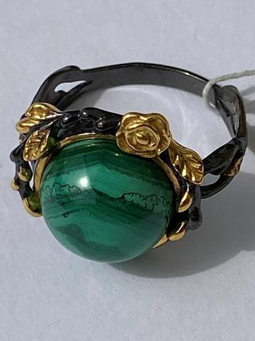 Рене-малахит (кольцо из серебра)