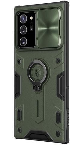 Чехол темно зеленого цвета на Samsung Galaxy Note 20 с защитой камеры от Nillkin серия CamShield Armor Case (металлическая крышка камеры)