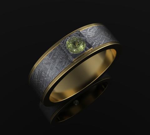 Кольцо из золота и метеорита с оливином