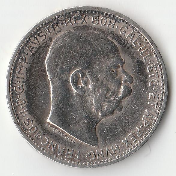Монета 1 крона Австрия  Франц Иосиф 1912 года.