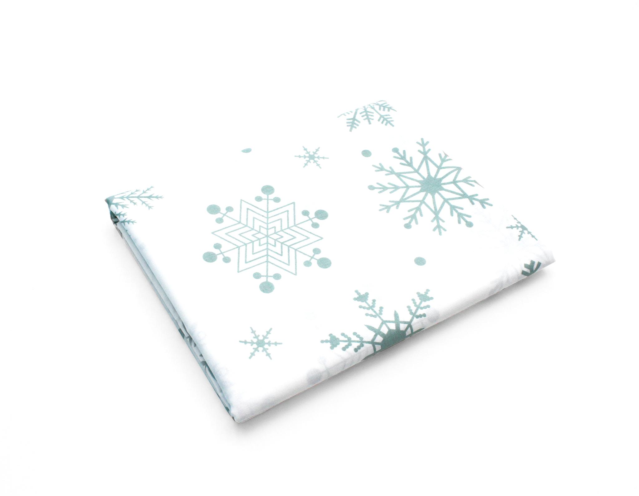 Снежинки мятные на белом,240 см