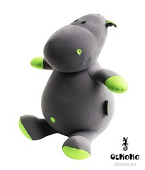 Мягкая игрушка-подушка Gekoko «Бегемот Няша», зеленый 3
