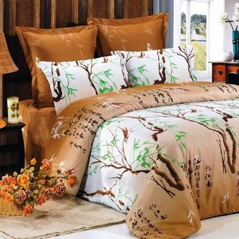 Сатиновое постельное бельё  2 спальное  В-69