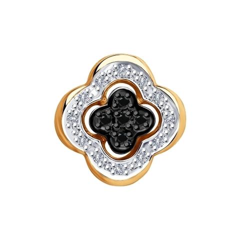 7030003 - Подвеска из золота с бесцветными и чёрными бриллиантами