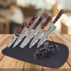 Набор из 5 ножей Samura KAIJU, точилки KSS-3000 и разделочной доски