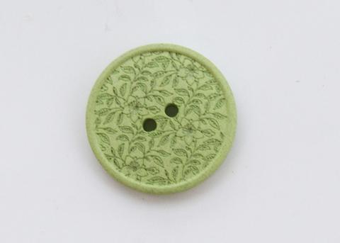 Пуговица с резными растениями, пластиковая,  светло-зелёная, 20 мм