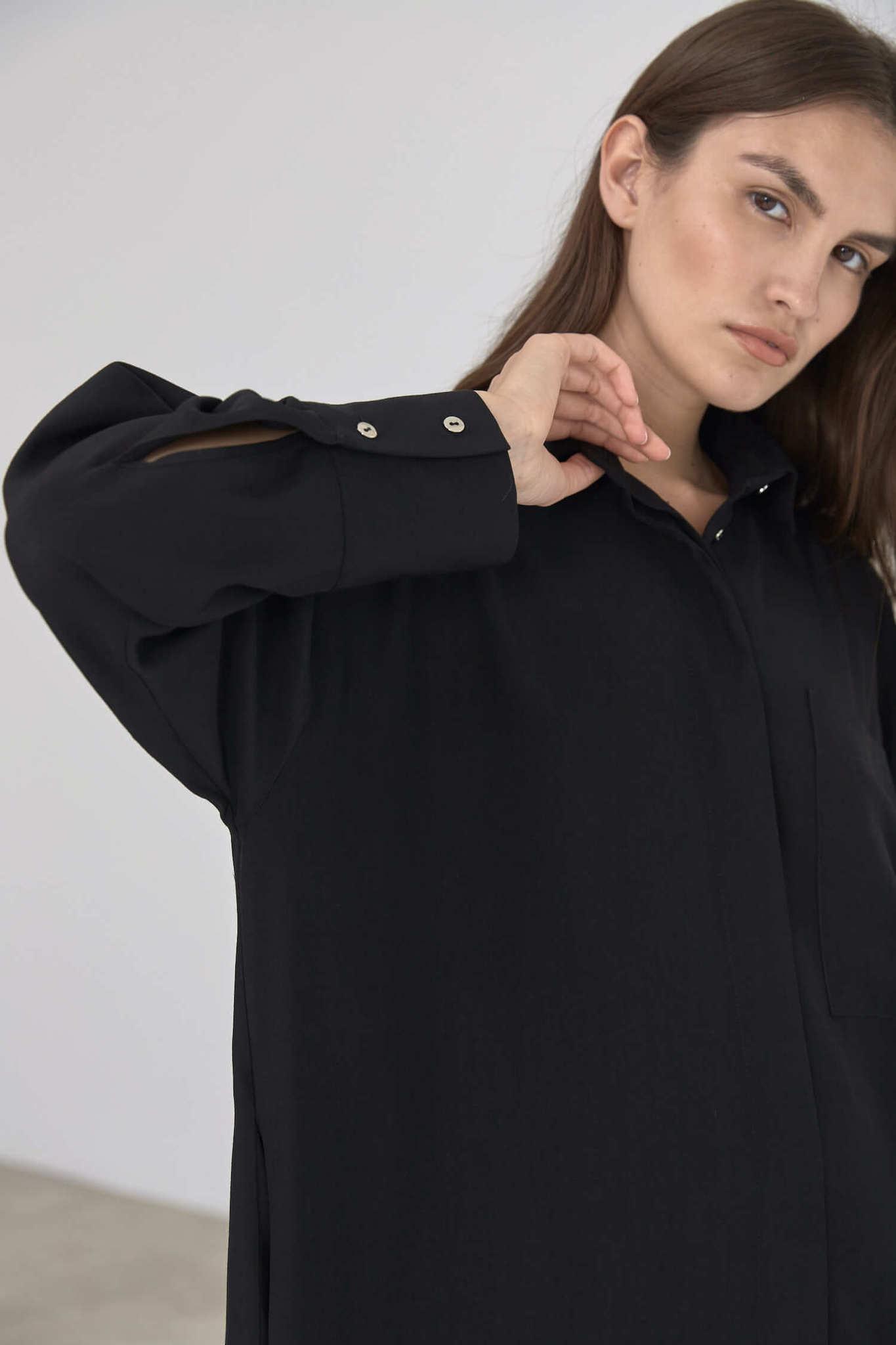 Платье-рубашка под пояс, угольно-черный
