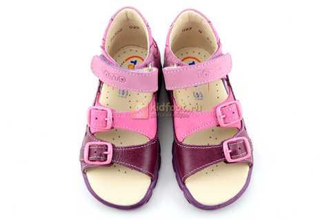 Босоножки Тотто из натуральной кожи с открытым носом для девочек, цвет сирень фиолетовый. Изображение 9 из 12.