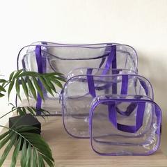 Прозрачная сумка в роддом с 2 косметичками, фиолетовая