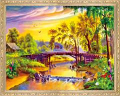 Алмазная Мозаика 40x50 Мост над рекой в нарисованном городке