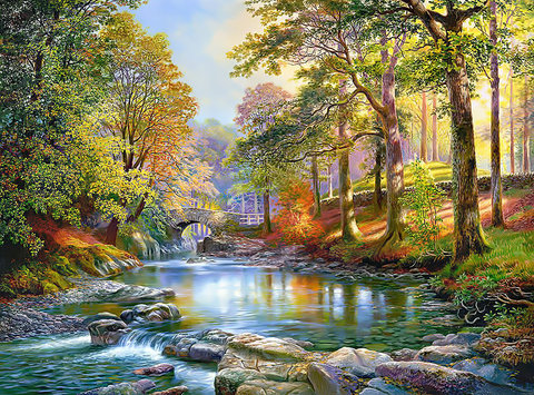Алмазная Мозаика 40x50 Мелкая речка среди деревьев (арт. HWA3022 )