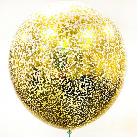 Метровый воздушный шар с золотым конфетти