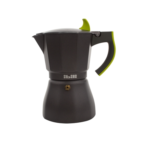 Кофеварка гейзерная на 6 чашек, алюминий, ручка зеленая, серия L' Aroma, 621106, IBILI, Испания