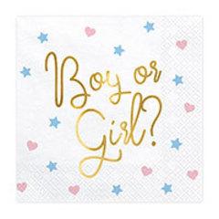 Салфетка Boy or Girl? белая 33см 20шт/PD
