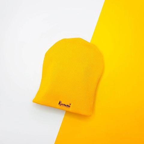 Шапочка желтая плотная