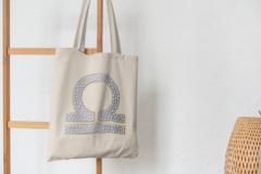 Сумка-шоппер с принтом Знаки Зодиака, Весы (Гороскоп, horoscope) бежевая 005