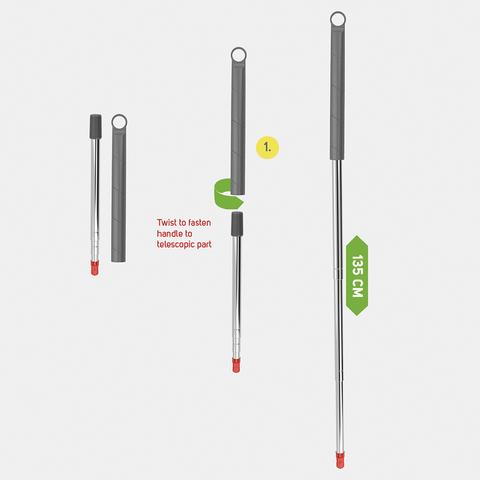Набор из телескопической ручки 135 см и съёмного основания с метелкой из микрофибры