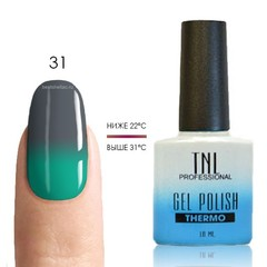 TNL, Термо гель-лак № 31 - серый/бирюзово-зеленый, 10 мл