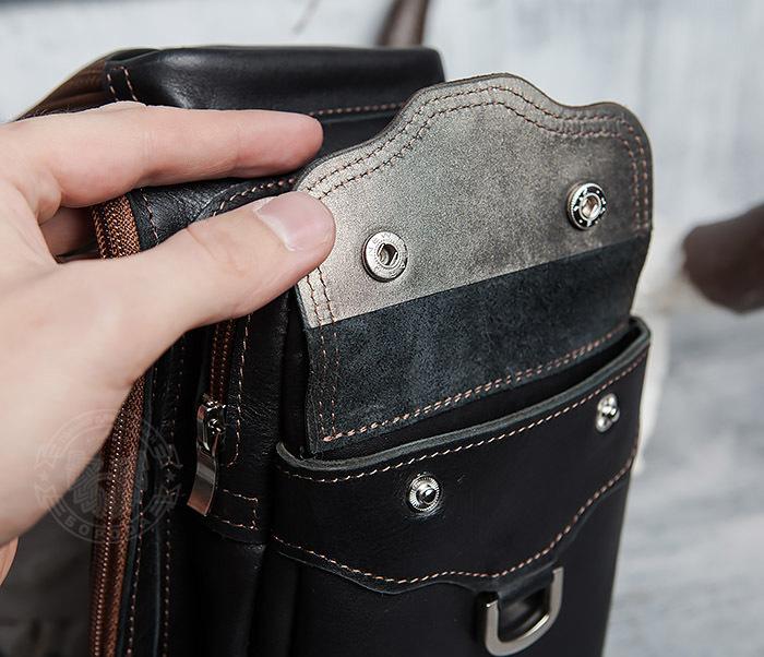 BAG415-1 Крутая мужская сумка рюкзак с одной лямкой, ручная работа фото 05