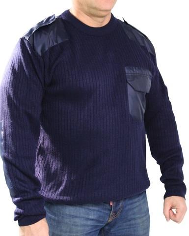 Джемпер свитер мужской (круглый вырез, синий)